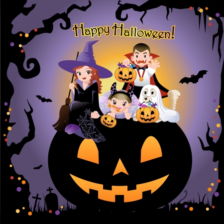 dog costume: Girls, boy and dog wearing halloween costume on the huge jack-o-lantern, with Greeting title, Invitation card