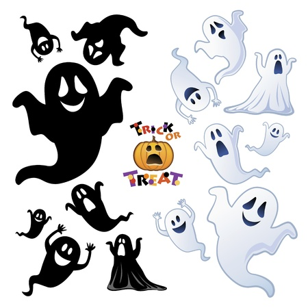 phantom: Set of Halloween Ghost, Halloween night   Illustration