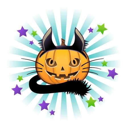 jack o: Halloween pumpkin Jack o lantern in black cat costume Illustration