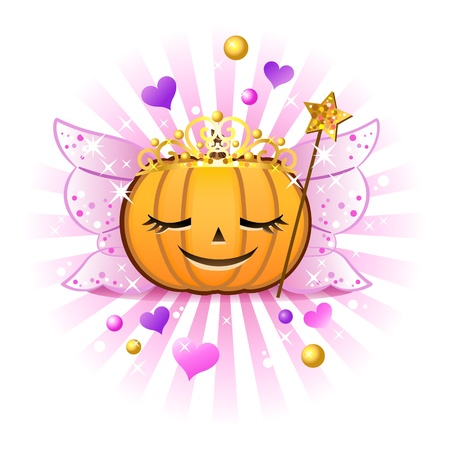 Halloween pumpkin Jack o lantern in fairy princess costume Illustration