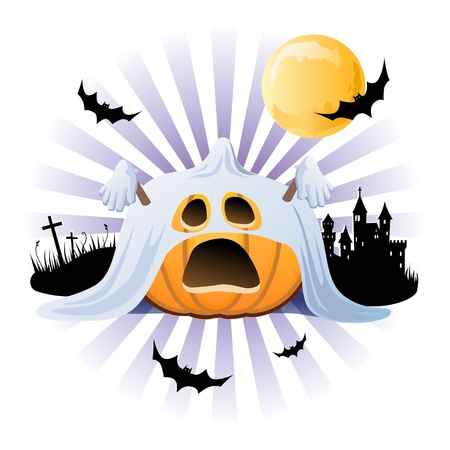 poltergeist: Halloween pumpkin Jack o lantern in halloween ghost costume on the silhouette background Illustration