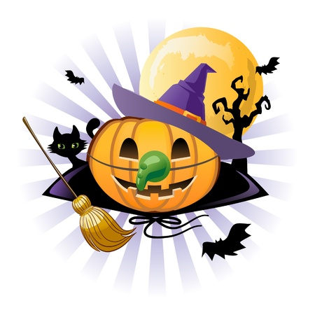 Halloween pumpkin Jack o lantern in halloween wich costume Vector