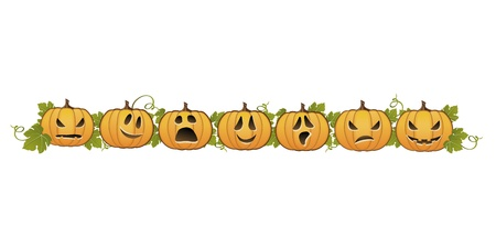clip arts: Halloween pumpkin line decoration   Illustration