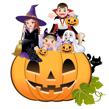 Halloween children wearing costume on huge jack-o-lantern, white background Vector