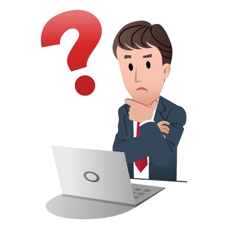 confused person: Cartoon businessman touching chin with question mark on white