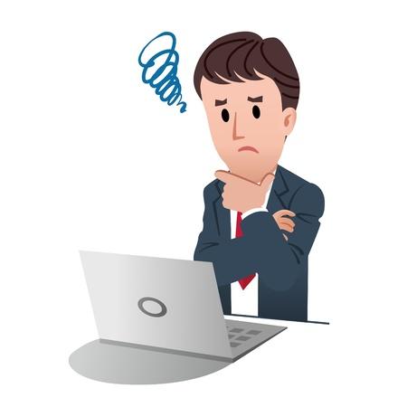 Uomo d'affari di toccare il mento confuso con un segno di aggrovigliato su sfondo bianco