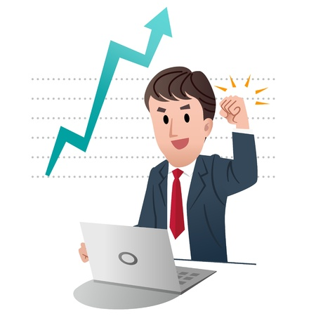 increase: Successful businessman raising fist up in air, on graph chart indicating growing sales with big arrow