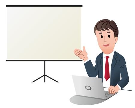 プレゼンテーション、ホワイト プレゼンテーション画面を作るビジネスマン