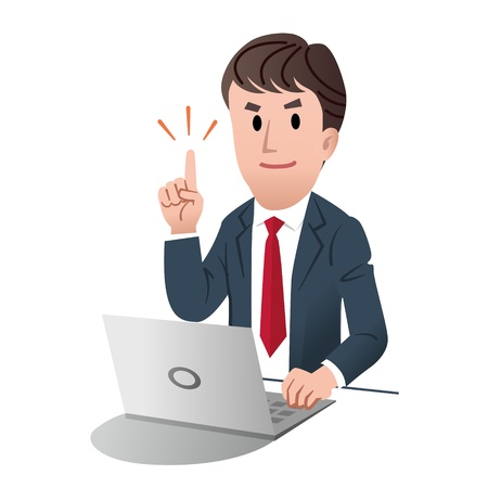 salary man: Smiling confident businessman pointing up, against white background Illustration