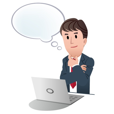 salesmen: Thinking businessman with speech bubble at laptop on white background