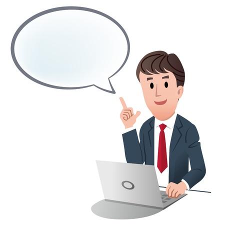 pointing up: Uomo d'affari che indica in su con la bolla di discorso, su sfondo bianco Vettoriali