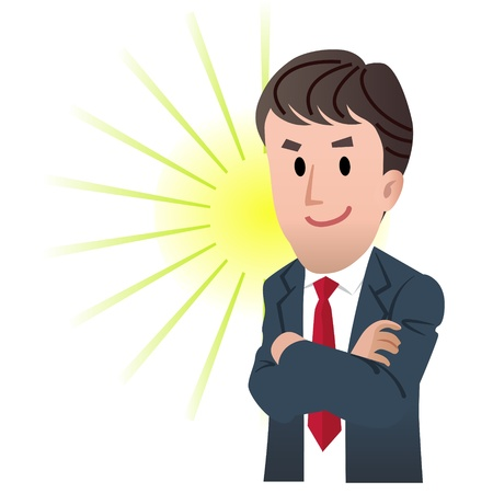 Confident business man with hands folded on flash light