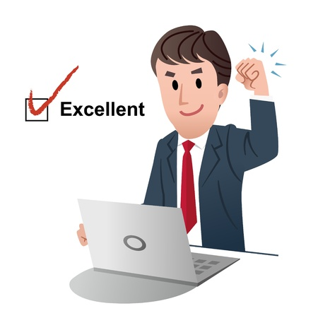 quality check: Successful businessman, raising fist up in air,  with tick mark on a check box of Excellent Illustration