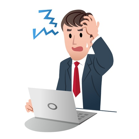 白い背景に対して左の手で頭を抱えている不満の実業家