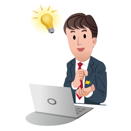 goed idee: Zakenman het krijgen van een goed idee met gloeilamp