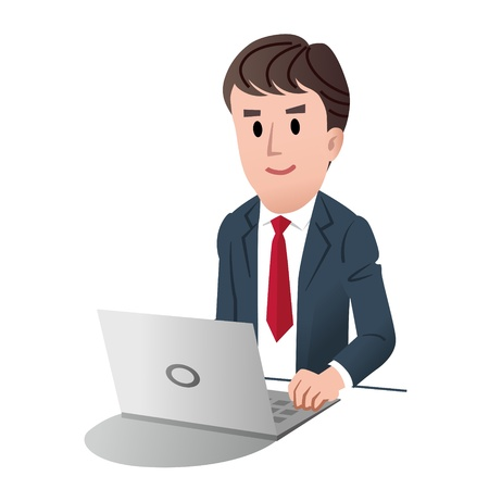 male businessman at a laptop computer against white background