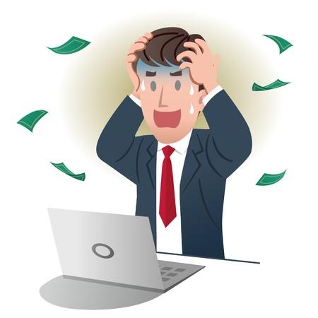 business stress: Shocking empresario sosteniendo la cabeza sobre fondo blanco