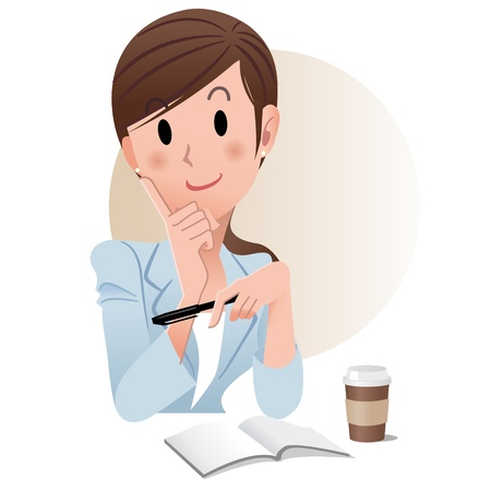 Ponytailed young business woman holding a pen while planning something with schedule notebook beside a cup of coffee.