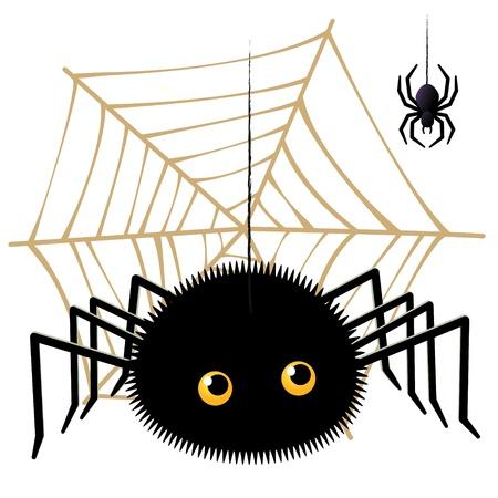 ベクトル イラスト漫画クモ蜘蛛の巣にタランチュラを探しているの  イラスト・ベクター素材
