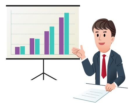 grafica de barras: ilustración de negocios que hace la presentación, con gráfico de aumentar las ventas