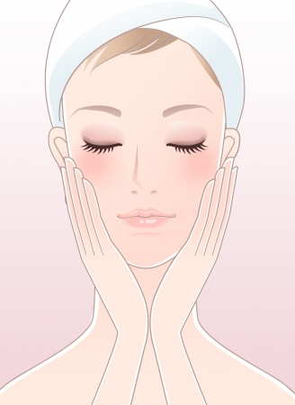 cheeks: Beautiful girl,spa woman,closing her eyes,touching her cheeks after Skincare  Young Skin  Perfect skin  Stock Photo