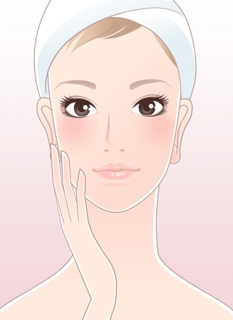 complexion: Beautiful girl, spa woman touching her face after Skincare  Young Skin Perfect skin