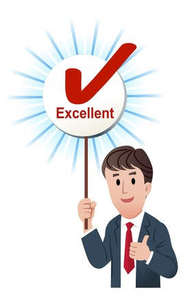 score board: illustration of Thumb up businessman holding up a excellent score board with ticked mark. isolated on white.