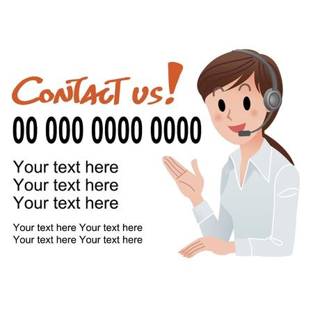 standardiste: illustration de femme de service � la client�le fournissant des informations de contact dans le casque, avec un texte �chantillon isol� sur blanc