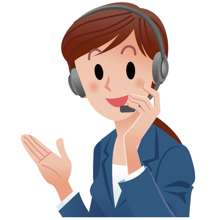 phone operator:  illustration of close-up cute support phone operator smiling in suit, touching the headset  Cropped, Isolated on white  Illustration