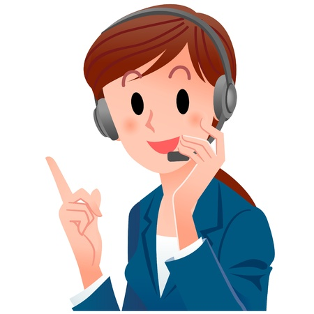 close-up cute support phone operator pointing up with a smile in suit, touching the headset  Cropped, Isolated on white