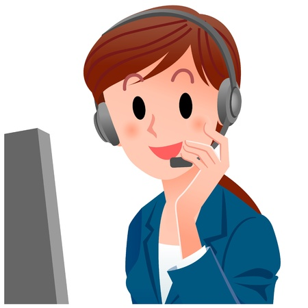 it support:  illustration of close-up female customer service representative touching the headset in suit  Cropped, Isolated on white  Illustration