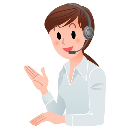 switchboard operator: Vector illustration of Customer service woman smiling in headset  isolated on white