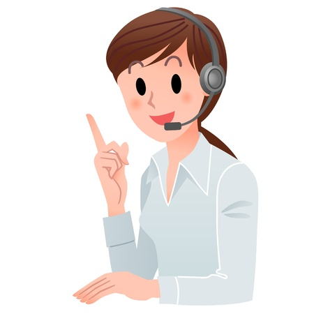 switchboard operator: Vector illustration of Customer service woman pointing up with a smile in headset  isolated on white  Illustration