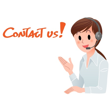 Vector illustration of Customer service woman providing contact information in headset, with space for your text  isolated on white    イラスト・ベクター素材