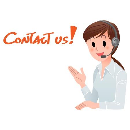 headset business: Illustrazione vettoriale di donna di servizio clienti che fornisce informazioni di contatto in cuffia, con spazio per il testo isolato su bianco
