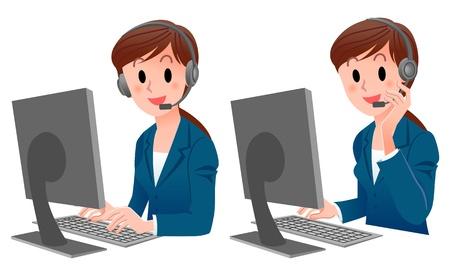 call center woman: Juego de la mujer Atenci�n al cliente sonriente en traje de ordenador mirando a la c�mara, tocando el auricular Vectores