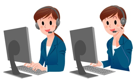 call center female: Set of Customer service woman smiling in suit at computer   looking to camera,touching the headset