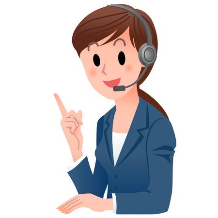 equipos trabajo: Ilustraci�n del vector de la mujer Atenci�n al cliente en traje apuntando hacia arriba con una sonrisa aislados en blanco