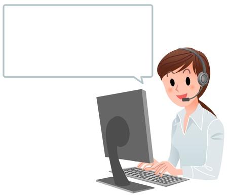 Vector illustration d'une femme de service à la clientèle à l'ordinateur avec le ballon de la parole isolée sur fond blanc Vecteurs