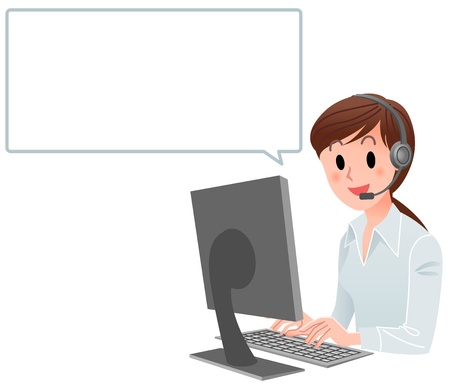 Vector illustration of Customer service woman at computer with speech balloon  isolated on white