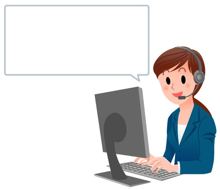 headset business: Illustrazione vettoriale di donna di servizio clienti in tuta al computer con palloncino discorso isolato su bianco