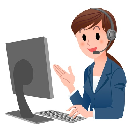 Vector illustration of Customer service representative  at computer in headset  isolated on white