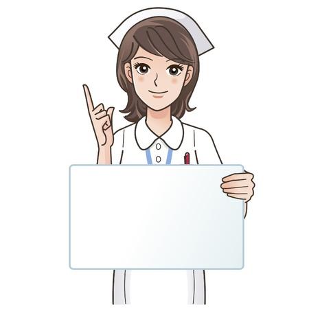whiteboard: Illustratie van leuke glimlachende verpleegster wijst met een leeg bord