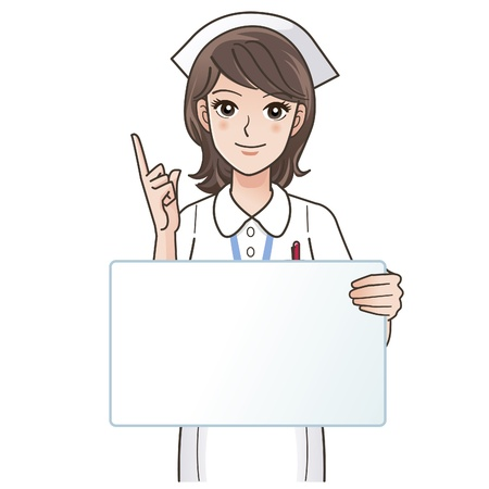 cartoon nurse: illustration of Cute smiling nurse pointing a blank board