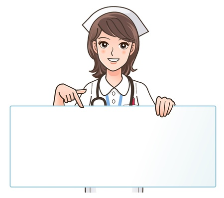 nurse uniform: illustration of Cute smiling nurse pointing a blank board