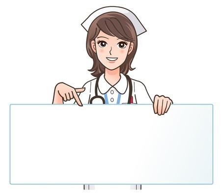 hospital cartoon: illustrazione di carino infermiera sorridente che punta a un bordo bianco