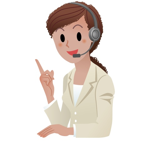 call center woman: Mujer africana de servicio al cliente americano representativepointing con una sonrisa aislados en blanco Ver otra variaci�n de la mujer del centro de llamadas en mi cartera Vectores