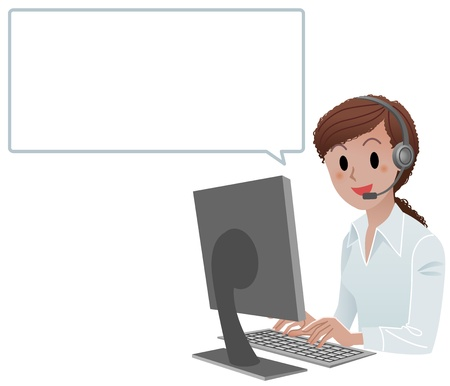 headset business: African agente call americana centro sorridente al lavoro con bolla di discorso isolati su bianco