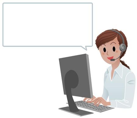 Call center agent afroamericano sonriente en el trabajo con la burbuja del discurso aislado en blanco Ilustración de vector