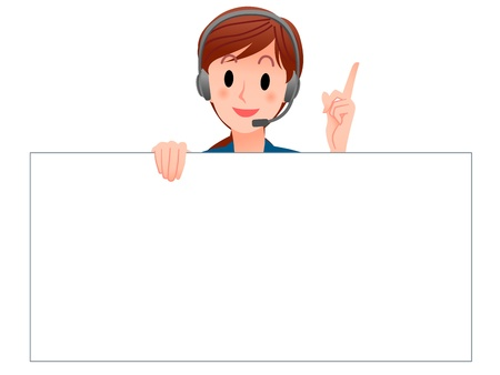 Cartoon Customer Service operator holding a blank board,pointing up with index finger Isolated against white background For more another variation, See my portfolio   イラスト・ベクター素材